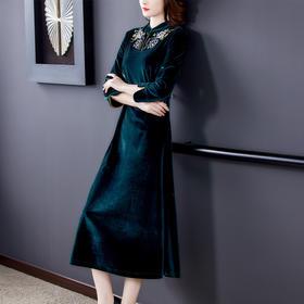 AHM-yslg8369新款时尚气质优雅显瘦修身绣花裙TZF