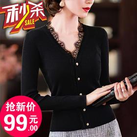 PDD-秋冬装新款气质V领蕾丝黑色针织修身开衫外套
