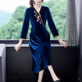 AHM-yslg8368新款时尚气质金丝绒连衣裙