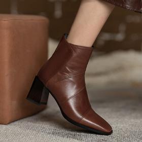 MYL-8231法式复古棕色短靴女粗跟秋冬方头头层牛皮时装靴中跟女靴