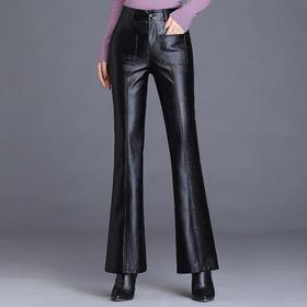 TY11375新款pu皮加绒皮裤高腰垂坠喇叭裤