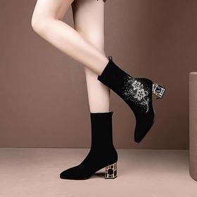 YT769时尚水钻粗跟高跟刺绣尖头弹力靴