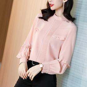 SS-12-1905气质显瘦上衣粉色甜美桑蚕丝衬衣灯笼袖真丝衬衫
