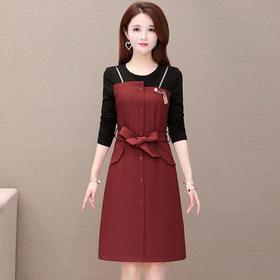 YW-JTF2830气质减龄收腰时尚长袖连衣裙