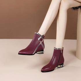 OLD-9596秋冬季新款时尚英伦风拼色粗跟短靴