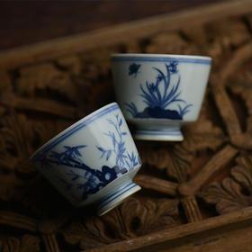 蓝和白 手绘青花瓷梅兰竹菊品茗杯