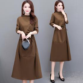 YSMR-8809-X中长款女宽松舒适遮肉显瘦气质粗绳打底连衣裙