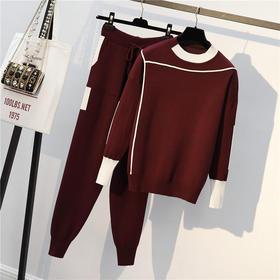 YJR-大码女装2020春秋装新款微胖胖妹妹针织上衣裤子毛衣两件套