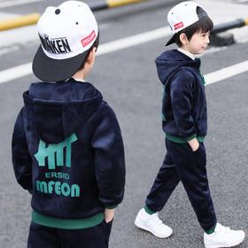 PDD-童装2020新款男童双面绒两件套装儿童韩版连帽加绒卫衣