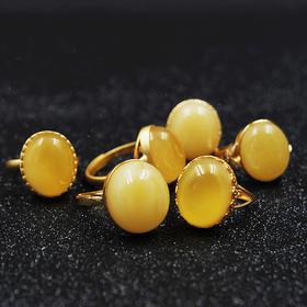 【钟情·戒指】琥珀蜜蜡戒指 迷人鸡油黄
