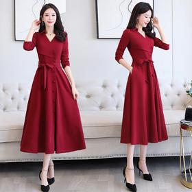 WZNH-JXYR8935文艺优雅时尚年轻瘦身舒适连衣裙