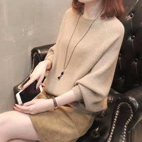 BF-秋装2020新款韩版蝙蝠袖毛衣女冬百搭宽松针织衫上衣