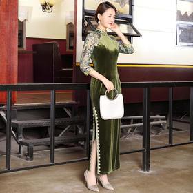 DLQ-A2651改良旗袍式连衣裙女春秋复古中国风优雅气质妈妈装
