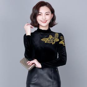 MQQ-6173黑色金丝绒绣花打底衫女2020秋冬新款半高领修身T恤复古长袖上衣
