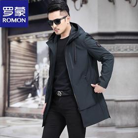 PDD-罗蒙风衣男装连帽新款男休闲春秋外套中长款潮流夹克