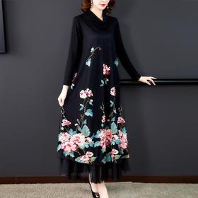XYX-9277重工刺绣连衣裙高贵洋气妈妈装民族风2020秋冬新款刺绣裙子