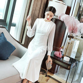 OG-99253秋季轻奢女装法式复古刺绣灯笼袖礼服连衣裙