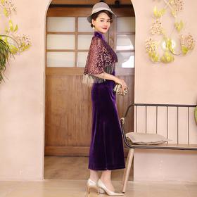 DLQ-A2705高端名媛气质复古旗袍春秋旗袍外搭披肩两件套