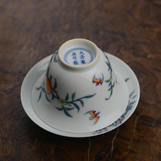 蓝和白 仿雍正 手绘斗彩福寿纹三才盖碗 商品图1