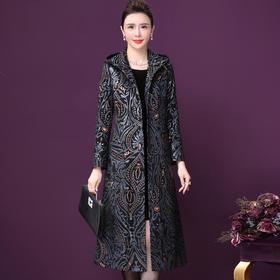 WXY-W-XN-9820海宁绵羊真皮外套中年妈妈气质法式印花大衣