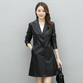 WZNH-KFLD6675MM海宁皮衣女中长款韩版修身气质皮风衣显瘦皮外套