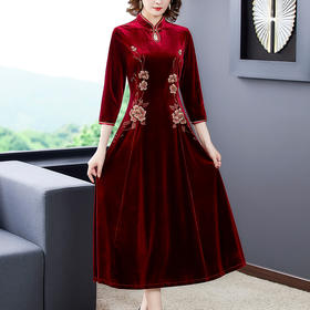 AHM-yq6617新款显瘦复古金丝绒连衣裙TZF
