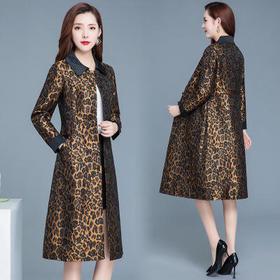 WE-WZ09豹纹风衣外套秋装2020年新款女洋气宽松翻领排扣中长款休闲上衣