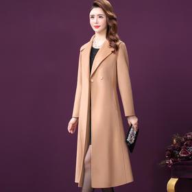 WXY-W-TN-2015双面呢大衣女2020冬新款温柔驼色含羊绒西装领收腰羊毛外套