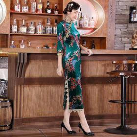 DLQ-A2654复古老上海改良旗袍式连衣裙女秋长款优雅中国风日常妈妈装