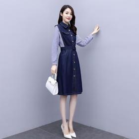WZNH-XXGA901时尚拼接牛仔连衣裙女2020年新款秋装长袖收腰裙子