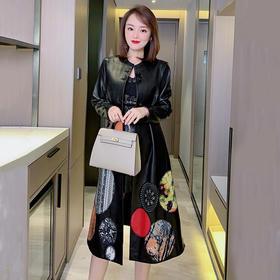 NYT-H20360时尚圆领重工刺绣中国风皮衣复古显瘦绵羊皮外套