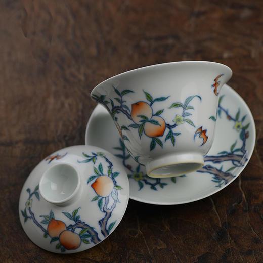 蓝和白 仿雍正 手绘斗彩福寿纹三才盖碗 商品图2