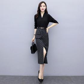 YSMR-932F63秋冬装2020新款女装时尚气质女神范性感侧开叉连衣裙