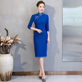 MQ-QP1830秋季新款复古纯色七分袖旗袍裙YY