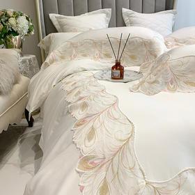 高档奢华100支全纯棉床上用品四件套白色被套蕾丝花边床单