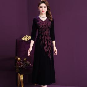 WXY-JY-72679新款优雅高端气质丝绒重工串珠烫钻绣连衣裙TZF