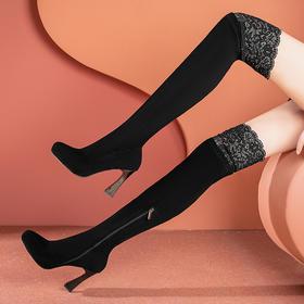OLD-A902新款时尚气质尖头水钻粗高跟过膝弹力长筒靴TZF