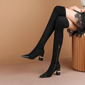 OLD-C2049新款时尚气质尖头粗高跟过膝弹力长靴TZF