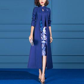 SSGS-L523新款优雅气质女神范长款风衣外套印花包臀裙两件套TZF