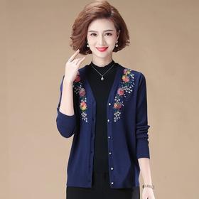 MQ1733-2067新款时尚气质宽松短款绣花针织开衫外套TZF
