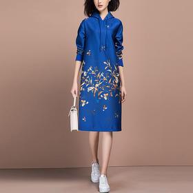 XSC-X01LH017H86新款高端时尚优雅气质连帽中长款印花连衣裙TZF