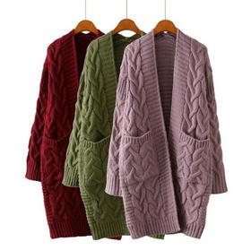 LLYMS8696-CC新款时尚气质宽松中长款针织毛衣外套TZF