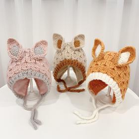 YWYL-M-双耳朵秋冬棉婴幼儿手工针织帽TZF