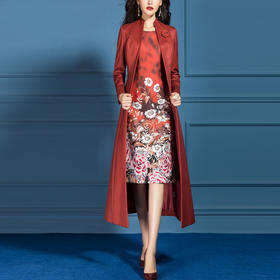 SSGS-L302新款名媛时尚女神范印花连衣裙开衫两件套TZF