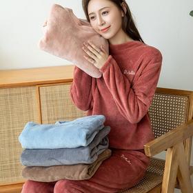 MQ3028-208新款时尚气质加绒加厚珊瑚绒暖暖家居服套装TZF