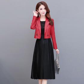 QYM-YSME-20245-Y新款时尚优雅气质短款PU皮外套中长款褶皱连衣裙两件套TZF