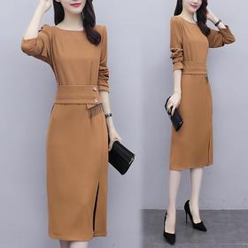 YHSS905558新款时尚名媛气质收腰显瘦开叉连衣裙TZF