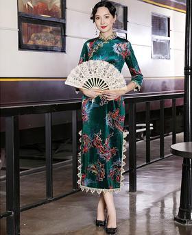 DLQ-A2654新款中国风优雅气质修身改良立领七分袖钉珠长款老上海旗袍TZF