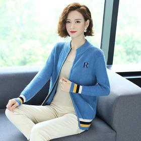 HT-N-A16-6920新款时尚气质半高领长袖针织开衫外套TZF