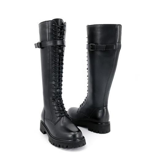 safiya索菲娅 黑夜骑士长筒靴反扣侧拉链骑士靴SF04117305 商品图3